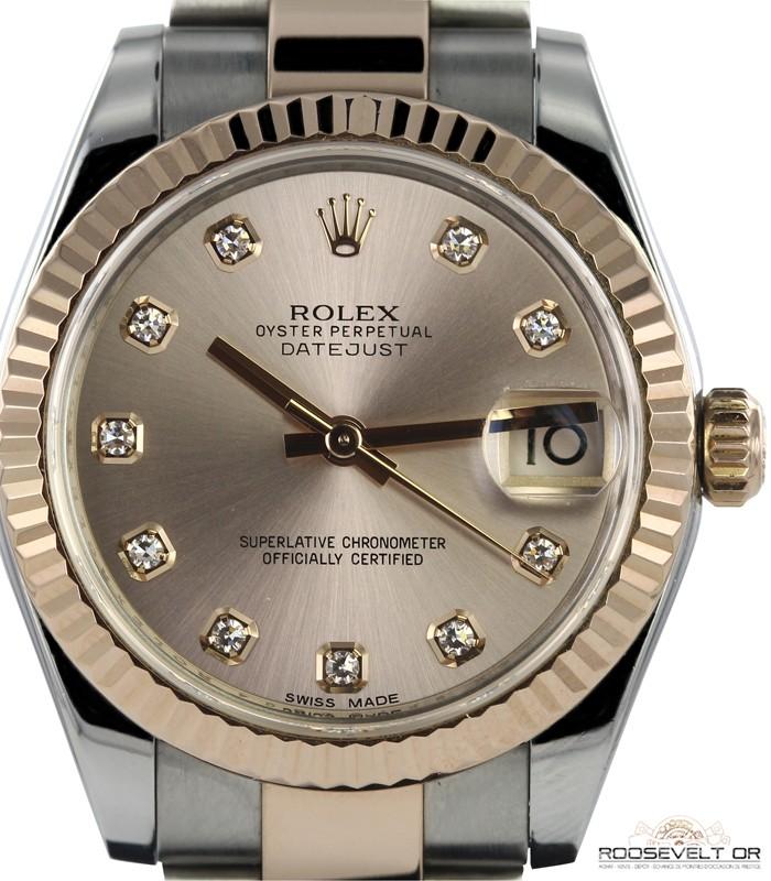 1716c6203ab6 montre occasion paris rolex datejust or rose acier 178271